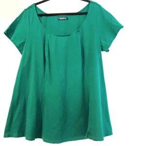 2X eShakti Green Short Sleeve Stretch Knit Top